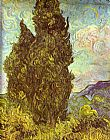 Vincent van Gogh Two Cypresses Saint-Remy painting