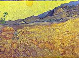 Vincent van Gogh Wheat Fields with Reaper at Sunrise painting