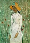 Vincent van Gogh Young Girl Standing Against a Background of Wheat painting