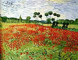 Floral paintings - field of poppies by Vincent van Gogh