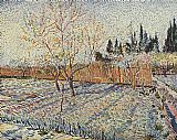 Vincent van Gogh field on winter painting