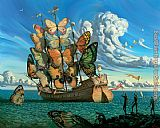 Vladimir Kush departure of the winged ship painting