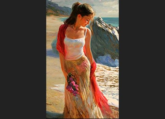 Vladimir Volegov girl with bougainvillea
