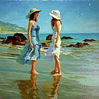 vladimir volegov Paintings - Dames Sur La Plage