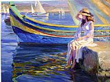vladimir volegov Paintings - Malta Waterfront