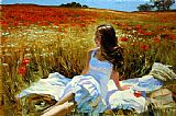 Vladimir Volegov Picnic amongst the Poppies painting