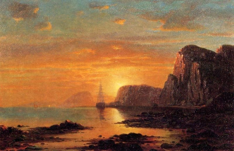 William Bradford Seascape, Cliffs at Sunset