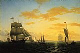 William Bradford New Bedford Harbor at Sunset painting