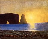 William Bradford The Sun Sets, Perce Rock, Gaspe, Quebec painting