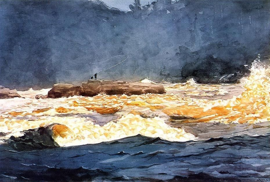 Winslow Homer Fishing the Rapids Saguenay