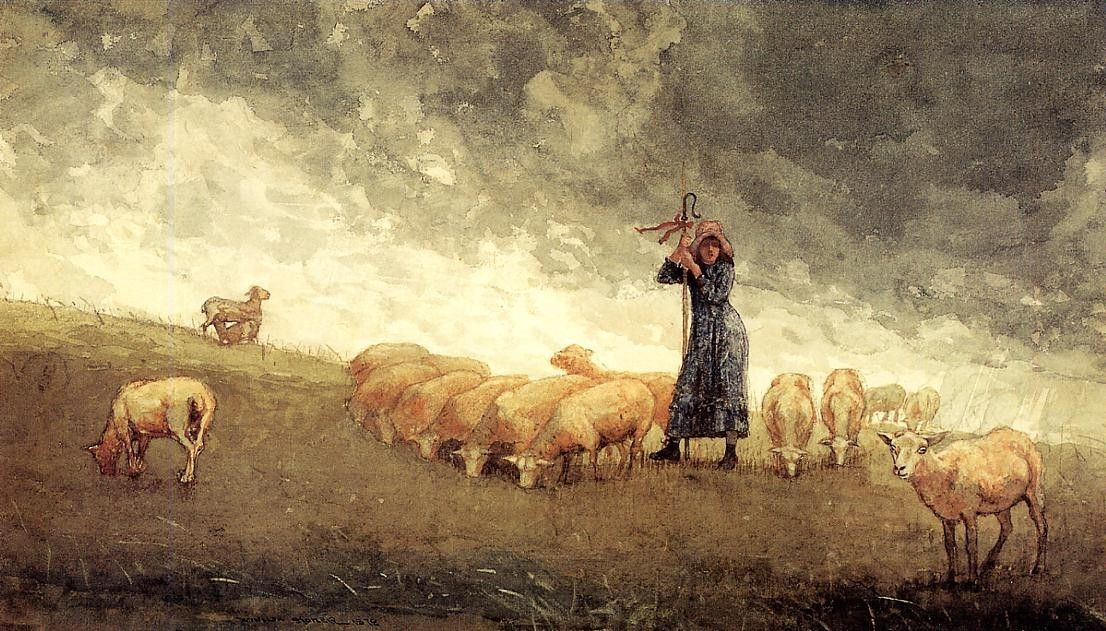 Winslow Homer Shepherdess Tending Sheep