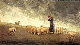 Winslow Homer Shepherdess Tending Sheep painting