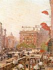 childe hassam View of Broadway and Fifth Avenue painting