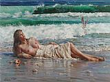 Nude paintings - nude on the beach by Guan zeju