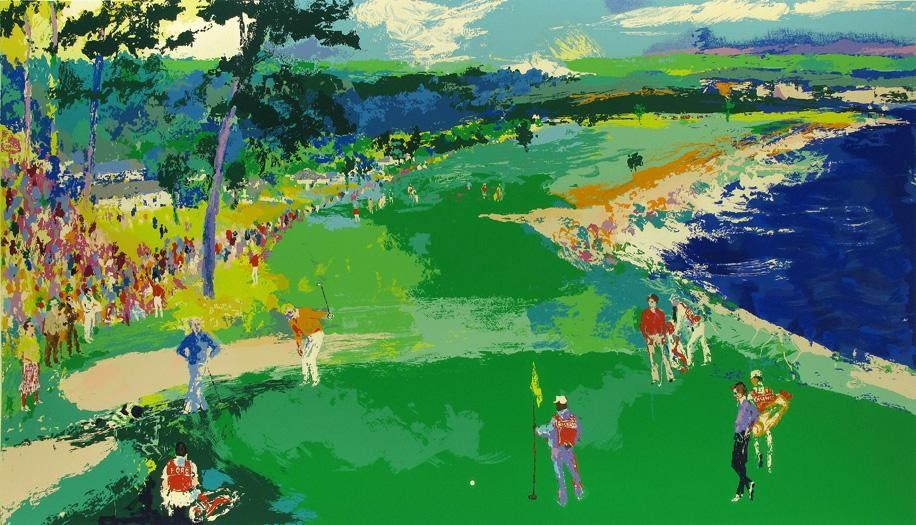 Leroy Neiman 18th at Pebble Beach