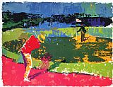 Golf paintings - Chipping On by Leroy Neiman
