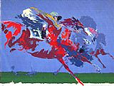 Horse Racing paintings - In The Stretch by Leroy Neiman