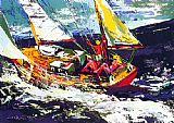 Leroy Neiman North Seas Sailing painting