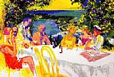 Leroy Neiman Wine Alfresco painting
