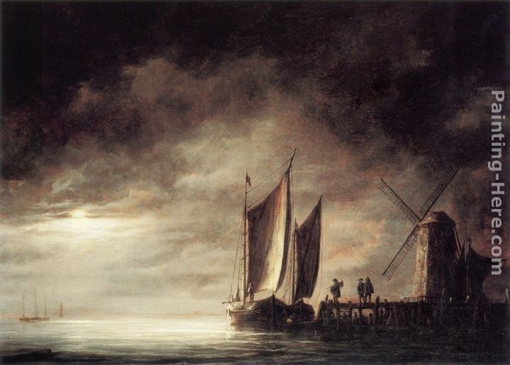 Aelbert Cuyp Dordrecht Harbour by Moonlight