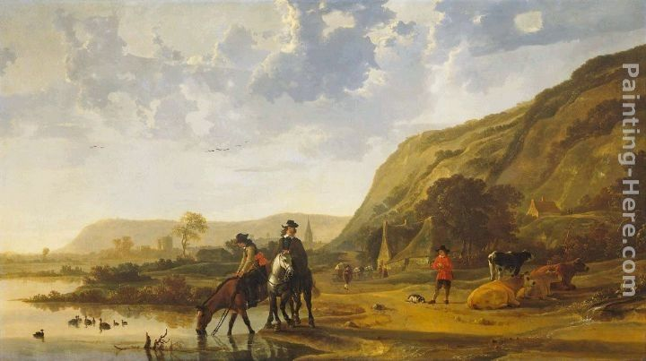 Aelbert Cuyp River Landscape with Riders