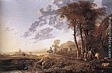 Aelbert Cuyp Evening Landscape with Horsemen and Shepherds painting