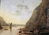 Aelbert Cuyp River-bank with Cows painting