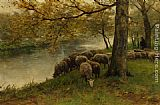 Anton Mauve Sheep Watering by a River painting