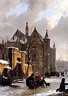 Bartholomeus Johannes Van Hove A Capricio View With Figures Leaving A Church In Winter painting