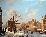 Bartholomeus Johannes Van Hove A Dutch Town Scene in Winter painting