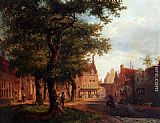 Bartholomeus Johannes Van Hove A Village Square With Villagers Conversing Under Trees painting