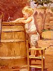 Benito Rebolledo Correa A Boy At A Water Barrel painting
