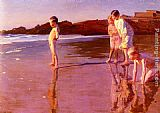 Benito Rebolledo Correa Children On The Beach At Sunset, Valencia painting