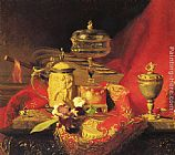 Blaise Alexandre Desgoffe A Still Life With Iris And Urns On A Red Tapestry painting