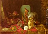 Blaise Alexandre Desgoffe A Still Life with Fruit, Objets d'Art and a White Rose on a Table painting