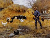 Charles Courtney Curran In The Barnyard painting