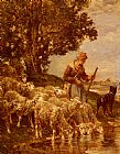 Charles Emile Jacque A Shepherdess Watering Her Flock painting