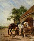 Charles Emile Jacque Attending to the horses painting