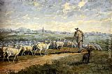 Charles Emile Jacque Landscape with a Flock of Sheep painting