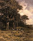 Charles Emile Jacque Shepherdess Resting With Her Flock painting