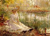 Charles James Theriat A Beauty By A River painting