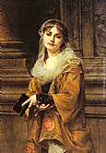 Charles Louis Lucien Muller A Young Woman Outside a Church painting