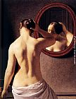 Christoffer Wilhelm Eckersberg Woman Standing In Front Of A Mirror painting