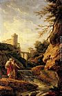 Claude-Joseph Vernet Two female peasants by a waterfall, a town and aqueduct beyond painting