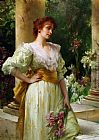 Conrad Kiesel Woman in White Holding Irises painting