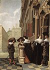 Dirck van Delen Conversation outside a Castle painting