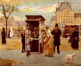 Eduardo Leon Garrido The Kiosk by the Seine painting