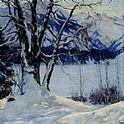 Edward Cucuel A Frozen Lake In A Mountainous Winter Landscape painting