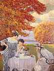 Edward Cucuel Tea in the Park painting
