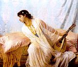 Edwin Longsden Long To Her Listening Ear Responsive Chords of Music Came Familiar painting
